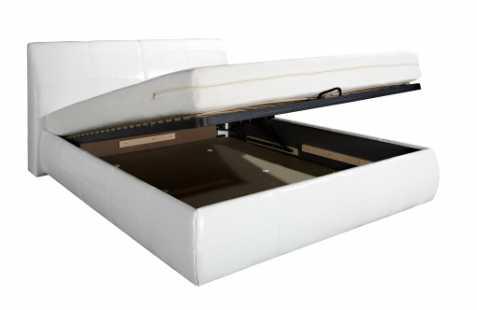 Čalouněná postel - bílá ekokuže